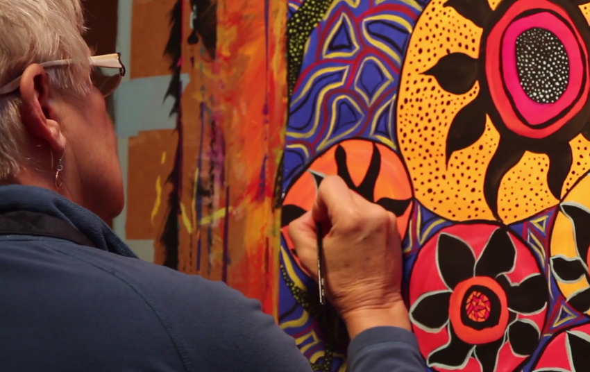 A still photo of Aziza from the video Painting and Presence