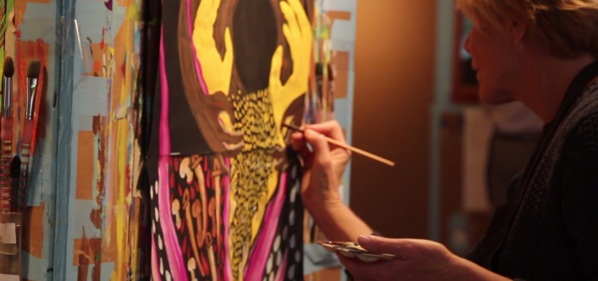 A still photo of Betsy from the video Painting and Presence