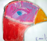 Bird from Kids Process Painting in Class
