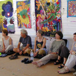 Photo of group at process painting workshop (Episode 21 of The Painting Experience Podcast: Awakening the Creative)