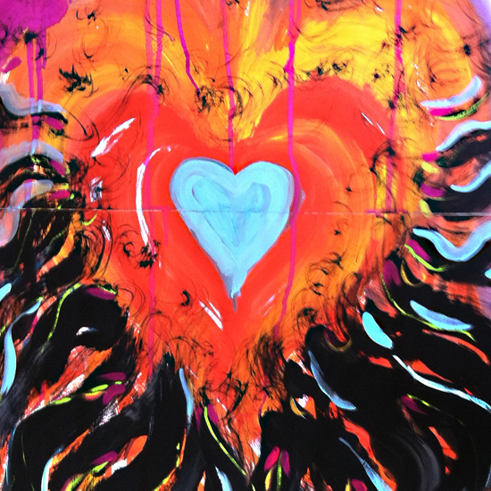 Painting of brightly colored heart (Episode 2 of The Painting Experience Podcast: The Creative Force)