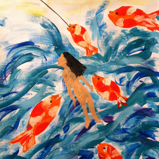 Painting of woman in water with fish (Episode 5 of The Painting Experience Podcast: Entering the Stream (Creative Flow))