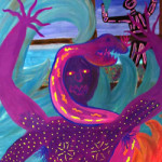 Painting of purple figure with a snake (Episode 7 of The Painting Experience Podcast: Completing a Painting)