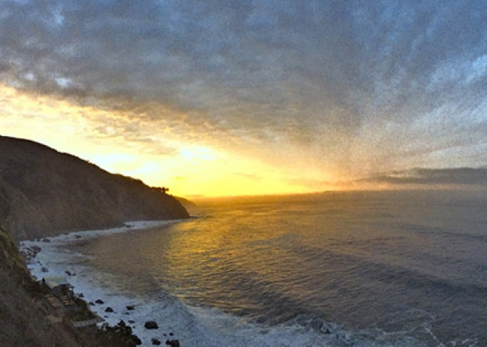 A panoramic view of the Big Sur coastline from Esalen Institute