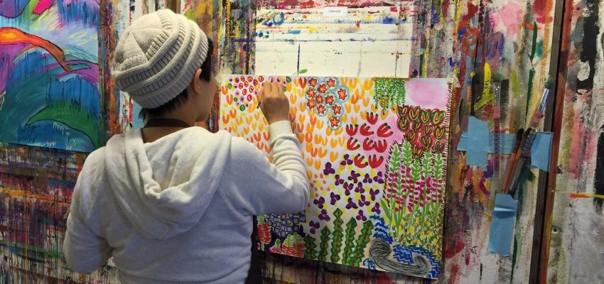 Painting bright patterns at an Esalen Painting Experience retreat ( from The Painting Experience Blog)