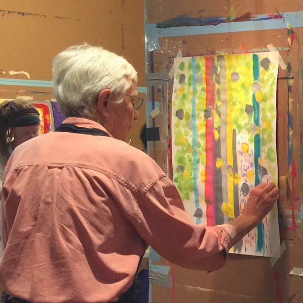 Jean Matlack working on a process painting