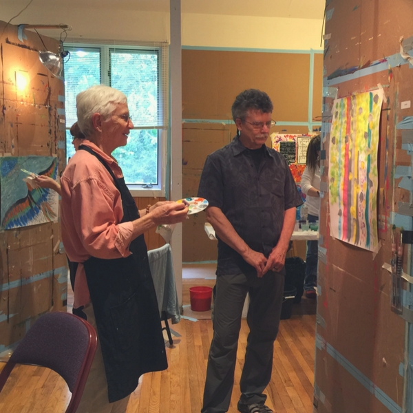 Jean Matlack and Stewart Cubley at a Painting Experience workshop