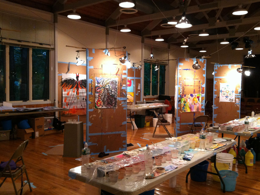 A nighttime view of the Painting Experience studio at the Omega Institute