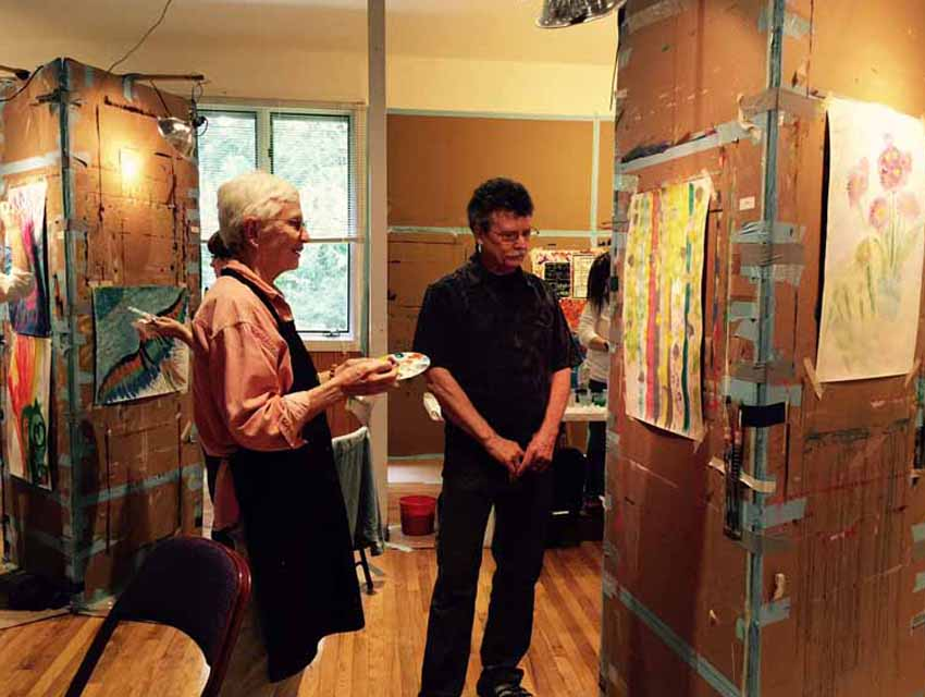 Stewart Cubley facilitates a Painting Experience workshop at the Omega Institute
