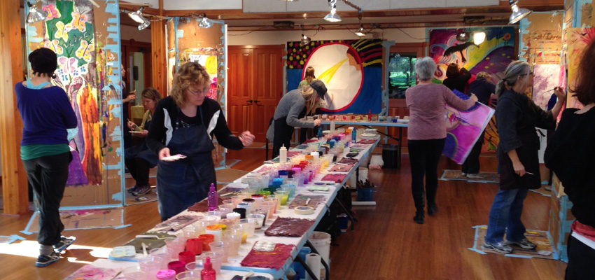 Photo of group in a process painting workshop near Portland, Oregon