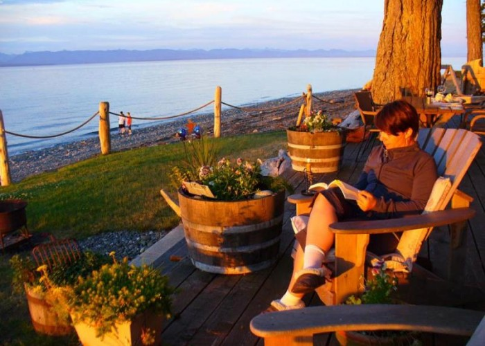 Photo of woman relaxing at Ocean Resort on Vancouver Island