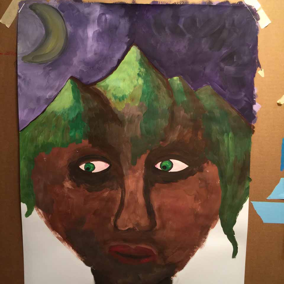 Green-eyed process painting at New York workshop
